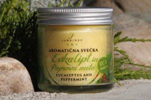 aromaticna svecka evkalipt in poprova meta